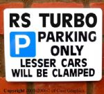RS TURBO Parking Sign Gift for manual model s1 s2 s3